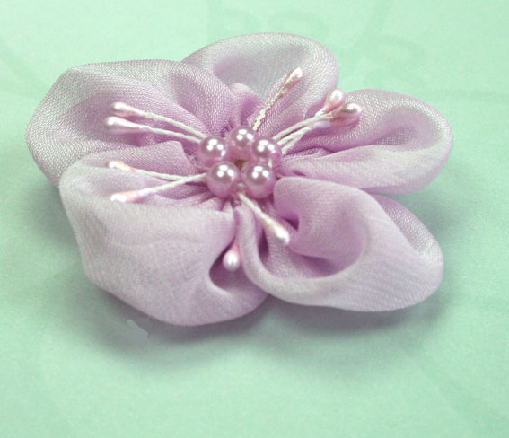 Sakura 5cm Silk and Pearl Flowers Lilac 12 pcs