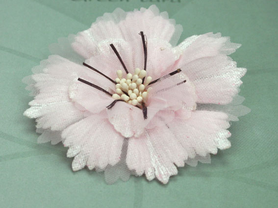 Damask 8cm Fabric and Organza Flower Pale Pink 12 pcs