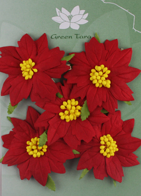 5 Large Red Poinsettias with Yellow Centres.