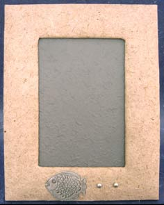 Natural Mulberry Paper Photo Frame with Metal Fish Embellishment