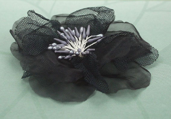 Poppy 8cm Organza Flowers Black 12 pcs