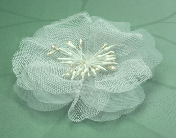 Poppy 8cm Organza Flowers White 12 pcs
