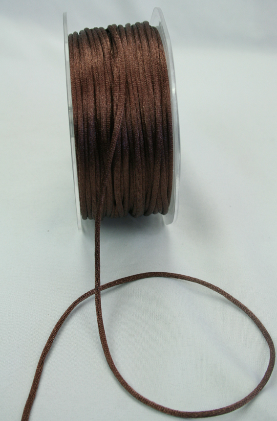 2mm Satin Rat Tail Cord 50m roll Dark Brown