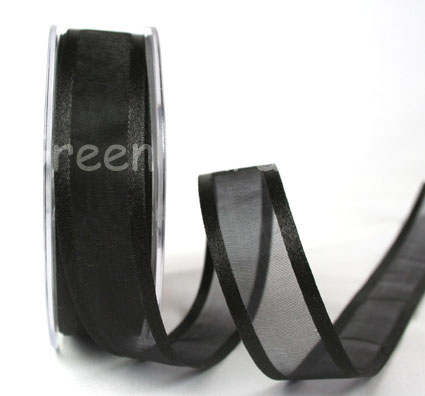 23mm Satin Edged Organza Black 25m