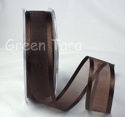 23mm Satin Edged Organza Dark Chocolate 25m