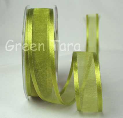23mm Satin Edged Organza Lime 25m