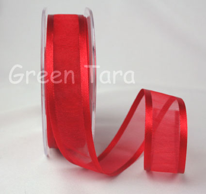 23mm Satin Edged Organza Red 25m