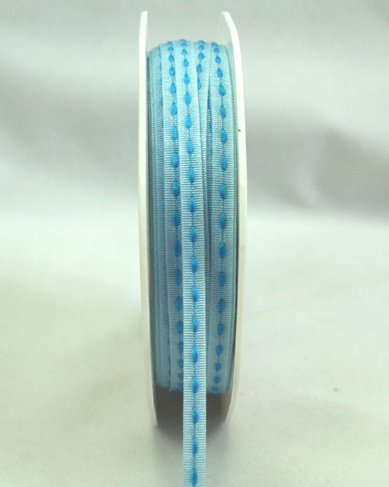 3mm Stitched Grosgrain 20m Roll Pale Blue/Blue