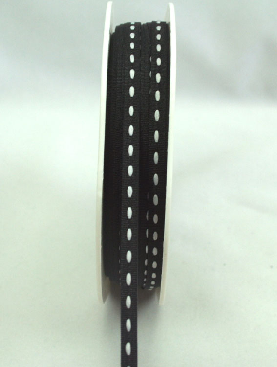 3mm Stitched Grosgrain 20m Roll Black/White