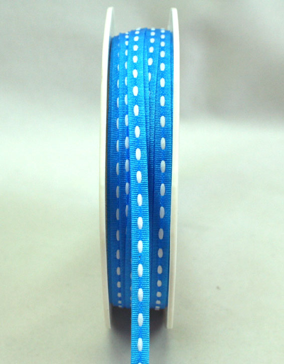3mm Stitched Grosgrain 20m Roll Blue/White