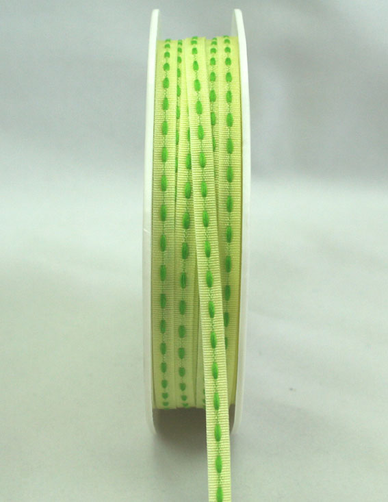 3mm Stitched Grosgrain 20m Roll Pale Green/Green