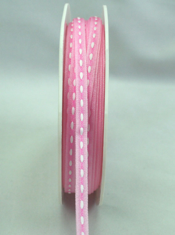 3mm Stitched Grosgrain 20m Roll Pink/White