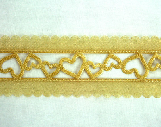 38mm Organza Satin Hearts 20m, Gold