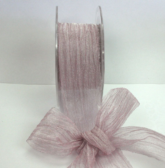 38mm Crushed Organza 10m roll Silver Dusky Pink