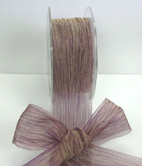38mm Crushed Organza 10m roll Gold Purple