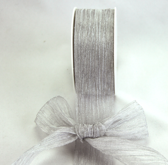38mm Crushed Organza 10m roll Silver