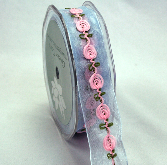 25mm Organza Rosebud 10m roll Pale Blue/Pink