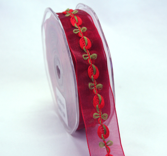25mm Organza Rosebud 10m roll Red