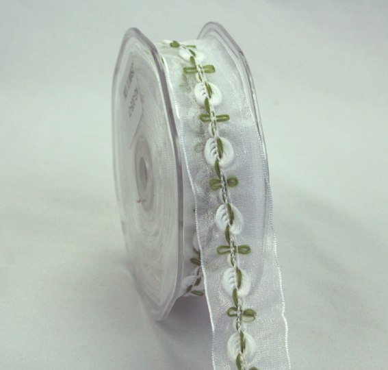 25mm Organza Rosebud 10m roll White