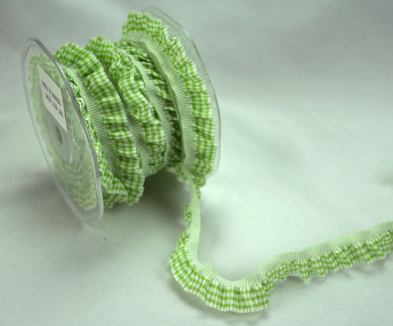 15mm Gingham Frill Green/White 10m Roll