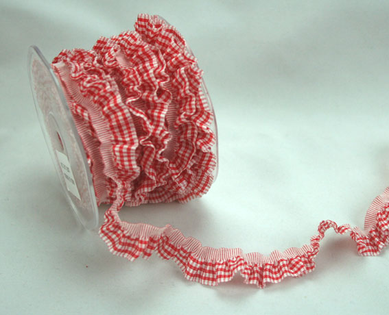 15mm Gingham Frill Red/White 10m Roll