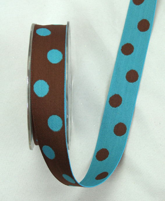 25mm Double Sided Reversible Spot Dark Brown/Turquoise 10m Roll