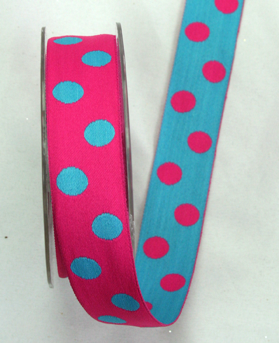 25mm Double Sided Reversible Spot Hot Pink/Turquoise 10m Roll