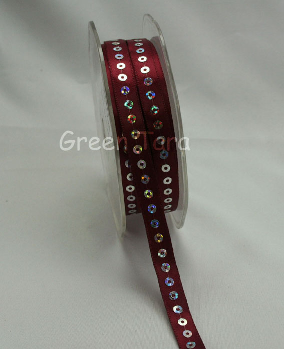 9mm Sequin Satin Ribbon Burgundy 20m