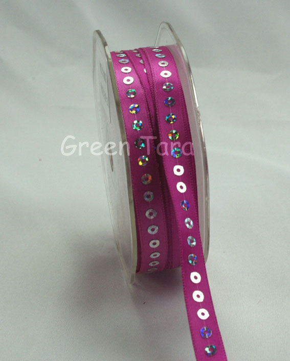 9mm Sequin Satin Ribbon Cerise 20m