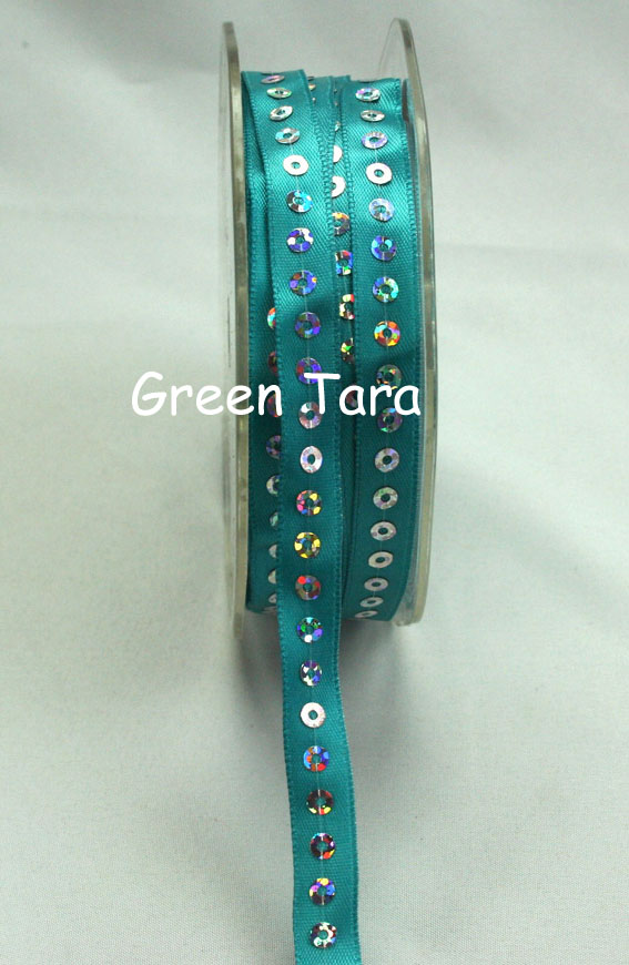 9mm Sequin Satin Ribbon Turquoise 20m