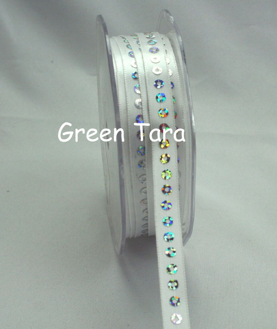 9mm Sequin Satin Ribbon White 20m