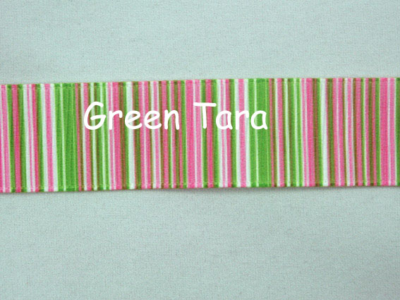 22mm Vertical Stripe Ribbon Pink/Lime