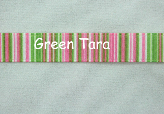 9mm Vertical Stripe Ribbon Pink/Lime