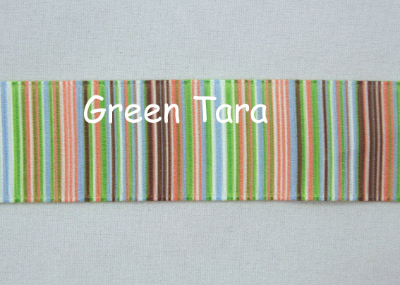 22mm Vertical Stripe Ribbon Green/Brown