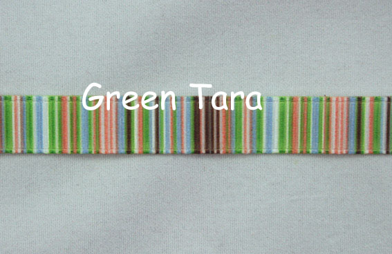 9mm Vertical Stripe Ribbon Green/Brown