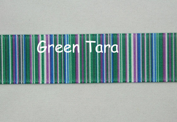22mm Vertical Stripe Ribbon Green/Blue