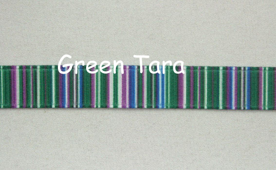 9mm Vertical Stripe Ribbon Green/Blue