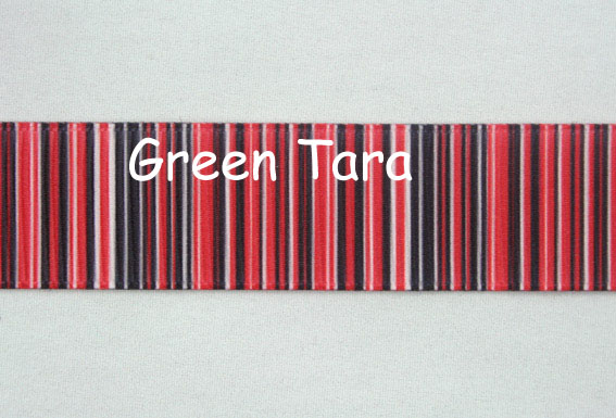 22mm Vertical Stripe Ribbon Red/Black
