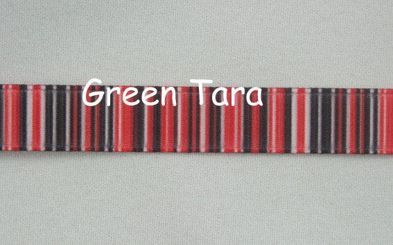 9mm Vertical Stripe Ribbon Red/Black