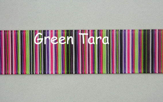 22mm Vertical Stripe Ribbon Hot Pink/Olive