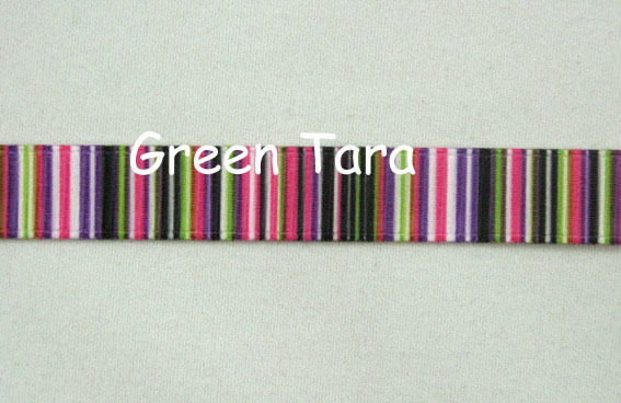9mm Vertical Stripe Ribbon Hot Pink/Olive