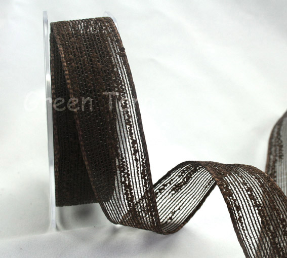 25mm Coloured Jute Ribbon Dark Brown 10m