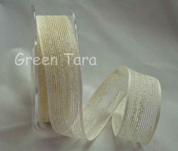 25mm Coloured Jute Ribbon Ivory 10m