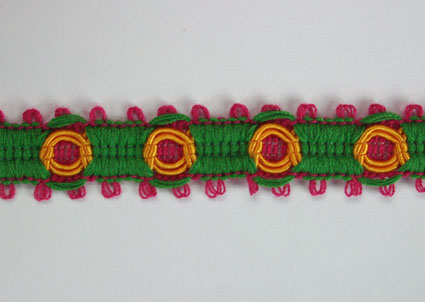 3 Tone Trim 10mm Hot Pink/Green/Gold 20m