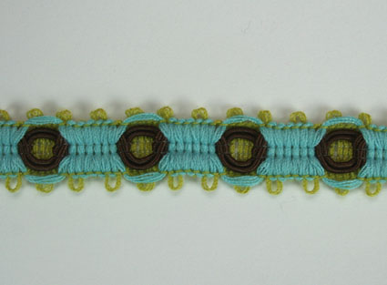 3 Tone Trim 10mm Lime Green/Brown/Blue 20m