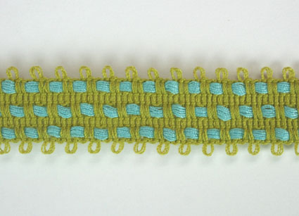 2 Tone Trim 15mm Lime Green/Blue 20m