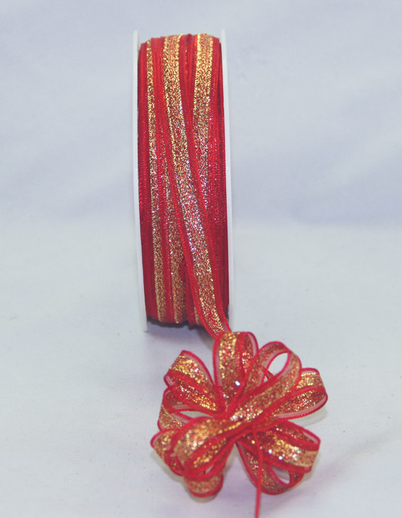 9mm Pull Bow Ribbon 25m, Red/Gold