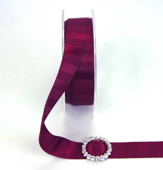 18mm Double Sided Vertical Stripe Satin 20m Roll Burgundy