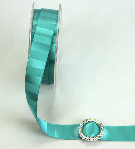 18mm Double Sided Vertical Stripe Satin 20m Roll Turquoise