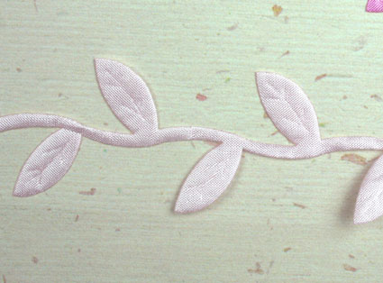 Satin Leaf Trim, Baby Pink